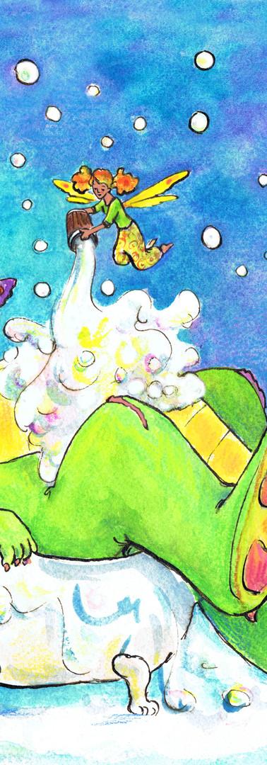 Clinique Saint Jean Bruxelles impression sur vinyle dragon fées bain bulles de savon