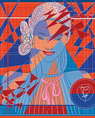 carré de soie femme rouge bleu