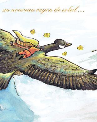 faire-part naissance Roseline d'Oreye oie sauvage fleurs vol oiseau hiver petite soeur fille