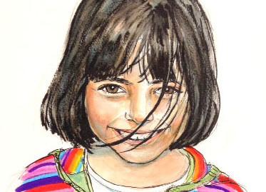 portrait fille aquarelle couleurs