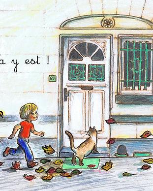 faire-part naissance automne chat petit garçon maison