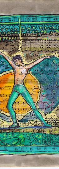 Danseur vert qui danse sa vie