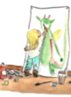Roseline d'Oreye enfant dragon peinture dessin histoire