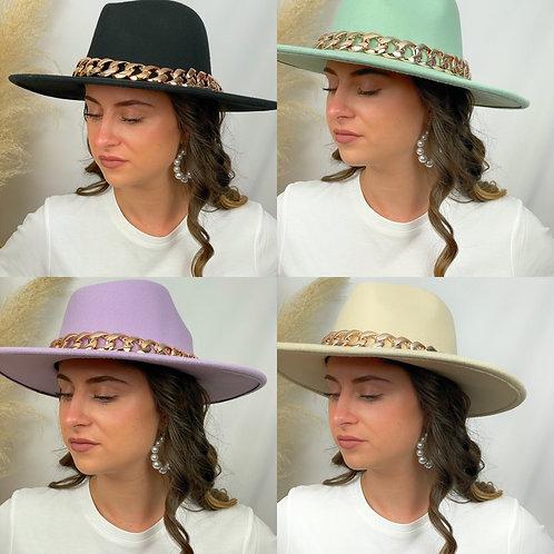 Chapeau Winston noir, vert, lilas, beige