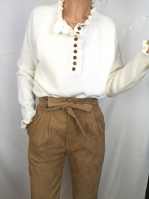 Pantalon velours Antonin taupe