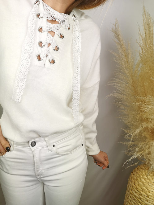 Pull Lacy blanc