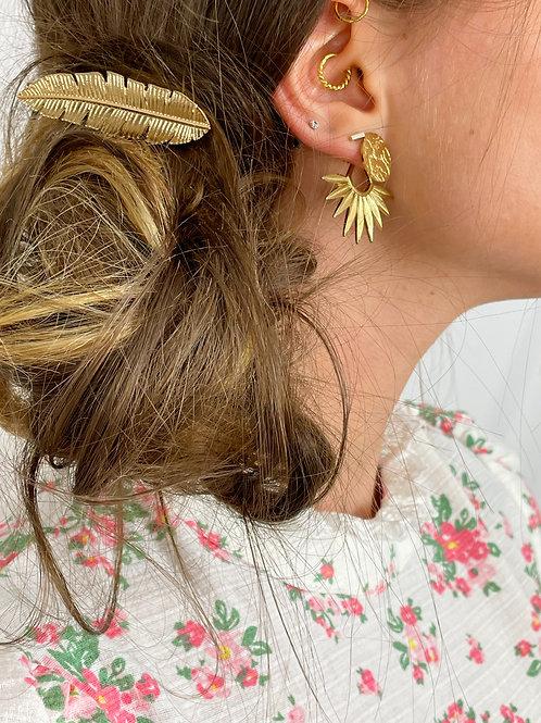 Barrette cheveux feuille