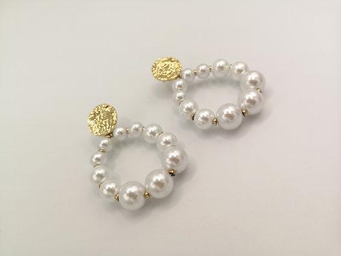 Boucles d'oreilles Isia blanches et dorées