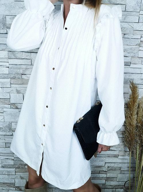 Robe April en velours blanche