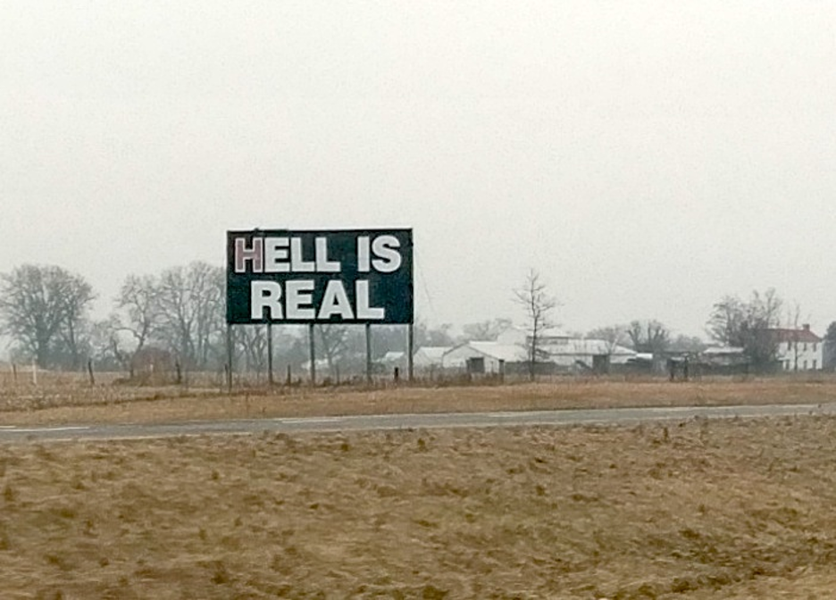 Hell is Real sign in Ohio