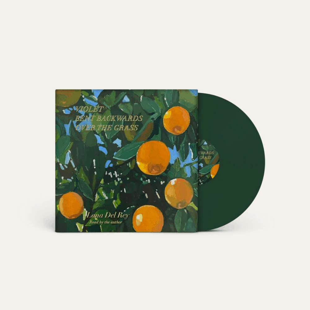LP cover for Lana Del Rey's record, featuring orange fruit hanging around green leaves against a blue sky