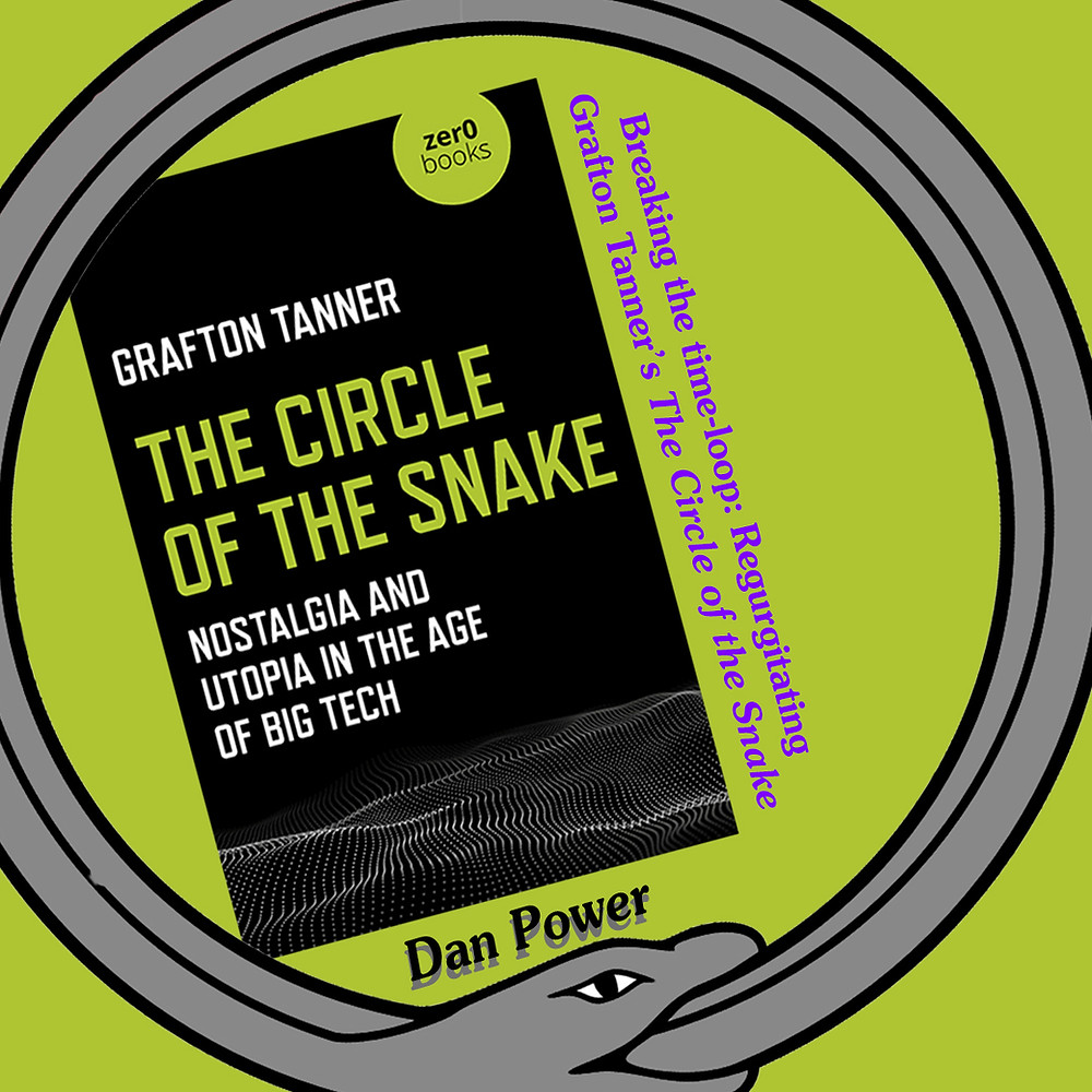 Upon a lime green background, a black-covered book is in the centre of a grey looping snake eating its own tail, with text that reads out the title of this essay and its author
