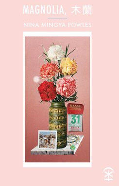 Book cover for Magnolia featuring bouquet of flowers and other artefacts, pale pink background