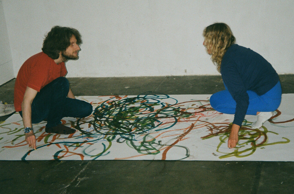 Claire Zakiewicz and Gerald Curtis painting performance for Some Loose Assemblies, performed at Hundred Years Gallery, June 2021