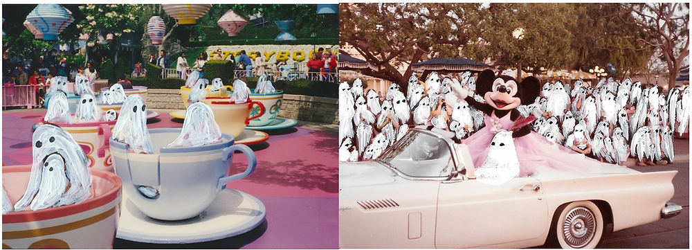 ghosts art by Angela Deane, ghosts illustrated on teacups at disneyland and surrounding pale pink open car