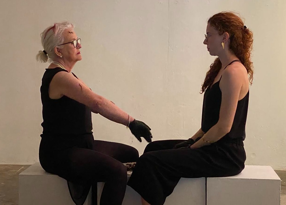 Kate Clayton and Sophie Seita performing 'Pearl & Theory Make Compost', Hundred Years Gallery, 2021