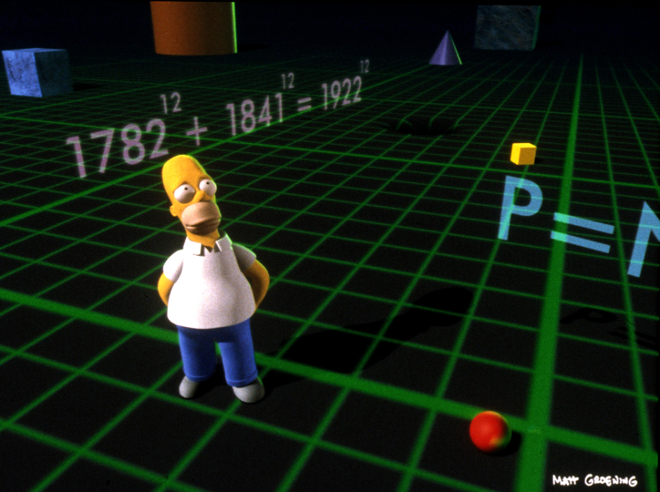 Homer Simpson in the middle of a black/green grid with math sums flashing around