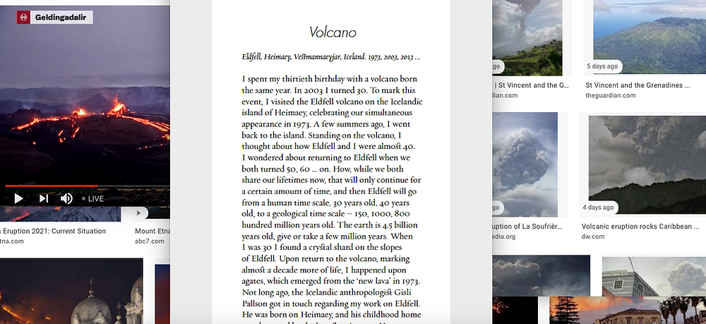 Screenshot of various images of volcanos in different settings with a document entitled Volcano in the centre.