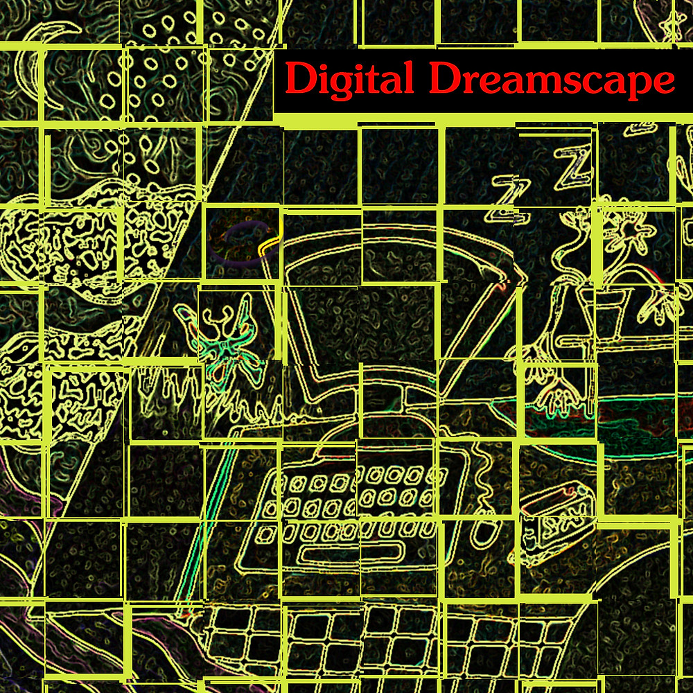 Illustrated computer with butterflies in lime green against black broken up into tiles with the words in red 'Digital Dreamscape'