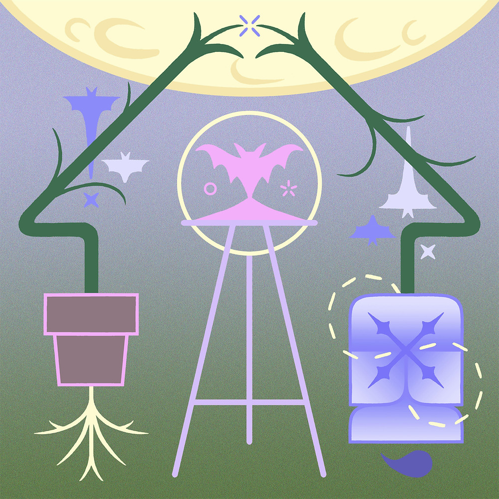 Crescent moon shapes and dark green branches pointing to a moonlike entity above a lilac/green gradient with pink bat in the centre