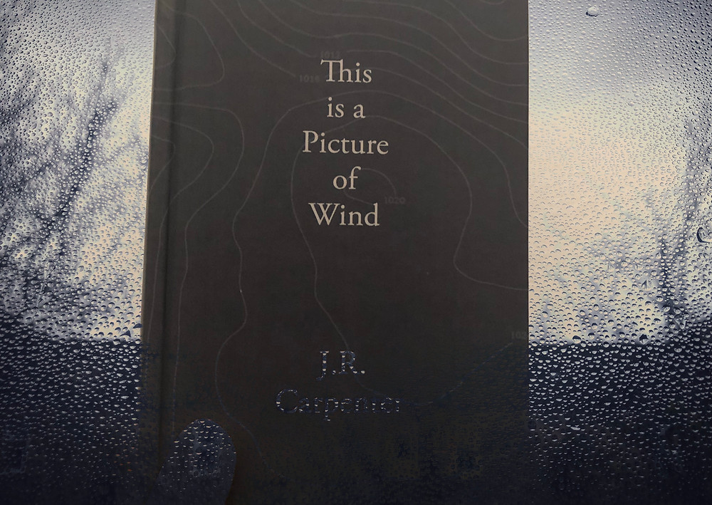 Photo of the book This is a Picture of Wind by JR Carpenter. The book is held up close to the camera, dark blue and hardback with faint swirling grey lines and the title in grey in the foreground. The book is held over a rainy window, dark blue and grey coloured; parts of the rainy window leak into the cover of the book
