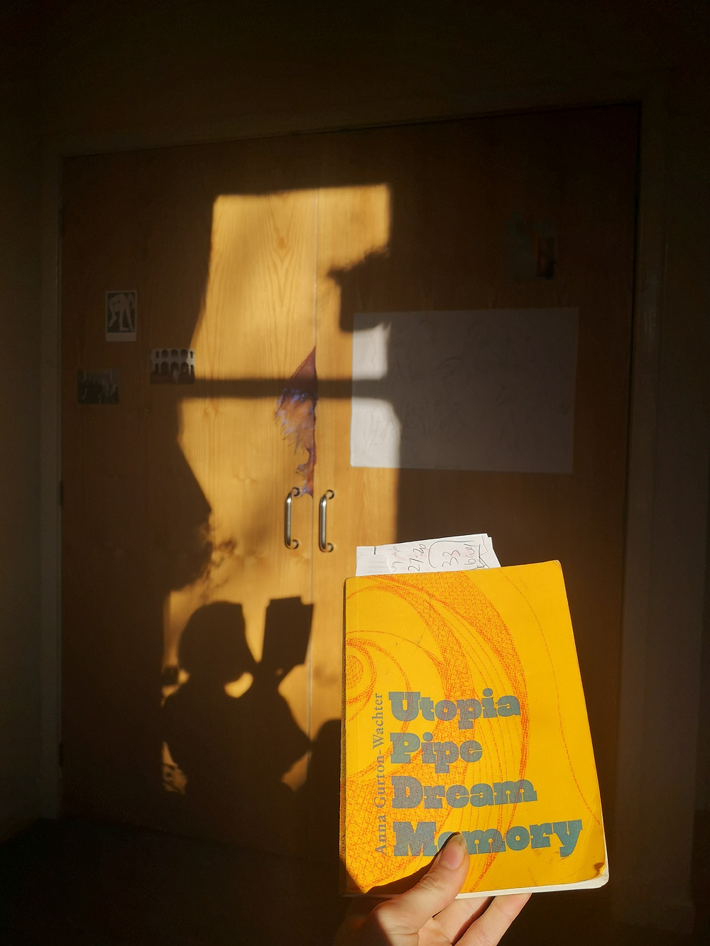 The yellow cover of the book is held against shadows a wooden wardrobe a silhouette of the person holding the image with fingers visible