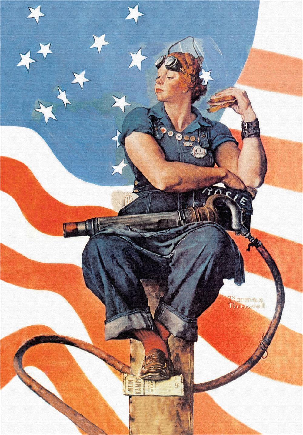 A woman in goggles and denims sits upon a backdrop of the American flag