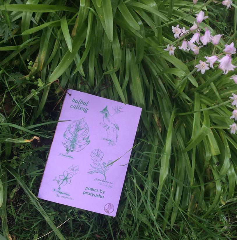 lilac cover of pratyusha's book set among pink bluebells