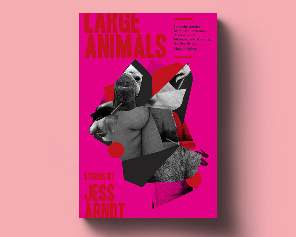 hot pink book cover for large animals on soft rose pink background