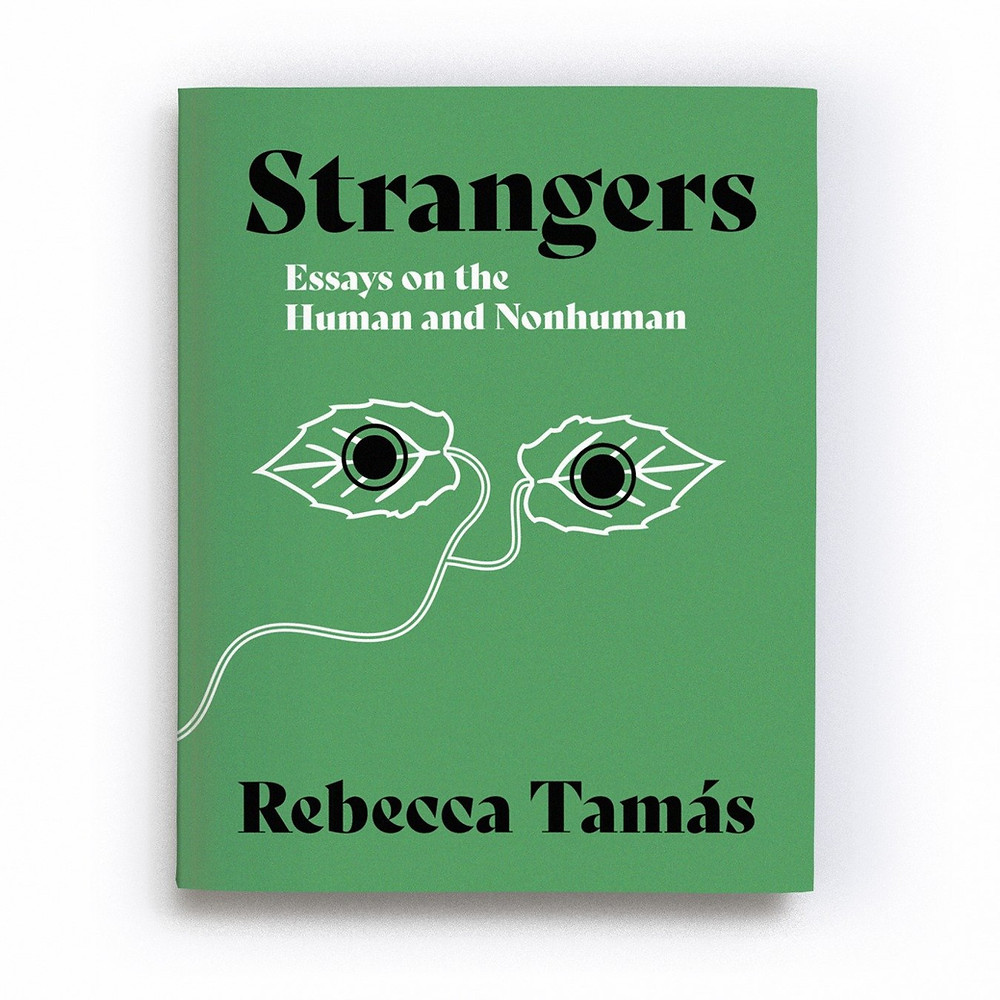 book cover for strangers: green two leaves with circles/eyes