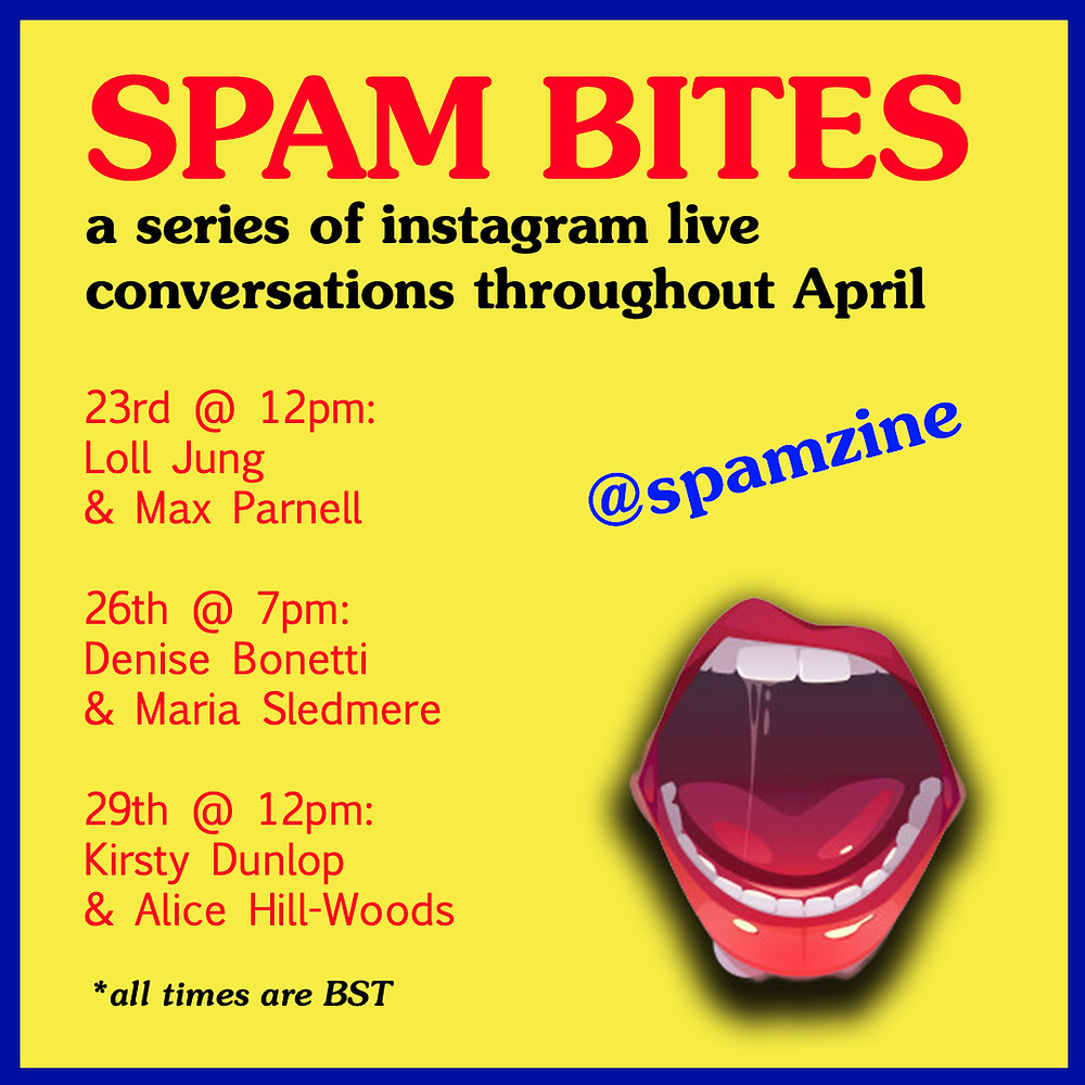 A yellow background with open mouth clip art + text describing dates and times for SPAM Bites (also available in text on this page)