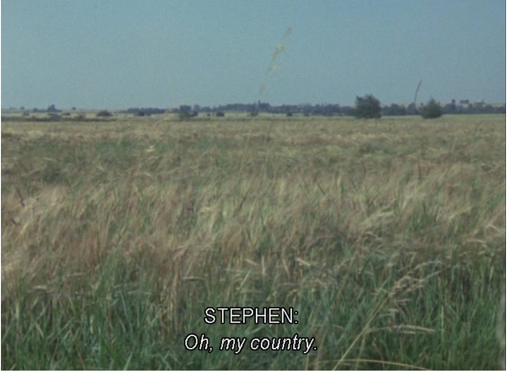 landscape grass with caption 'STEPHEN: Oh, my country'