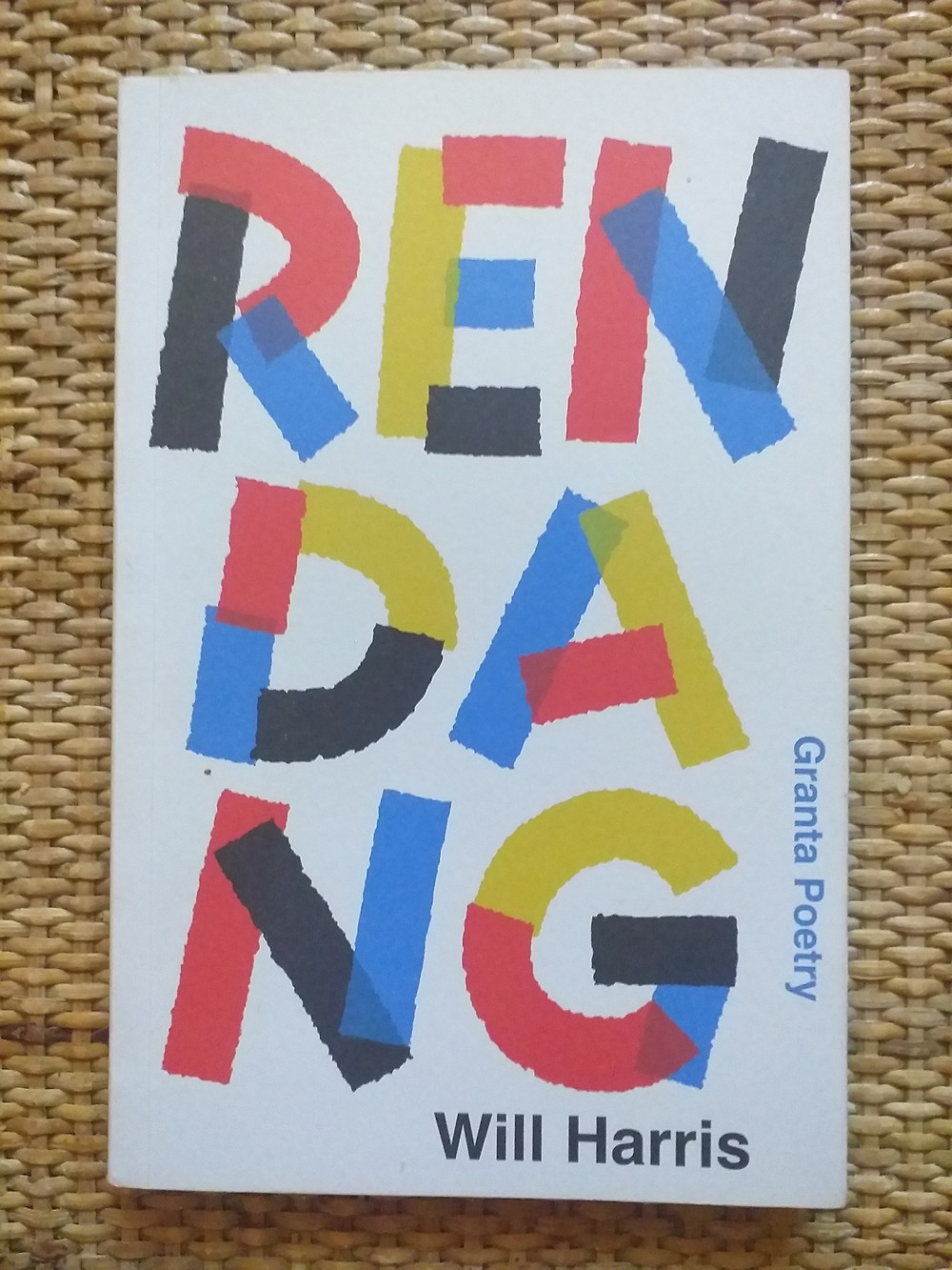 Upon a cross-hatch surface the book RENDANG appears with bold red, yellow, blue and black letters upon a white background