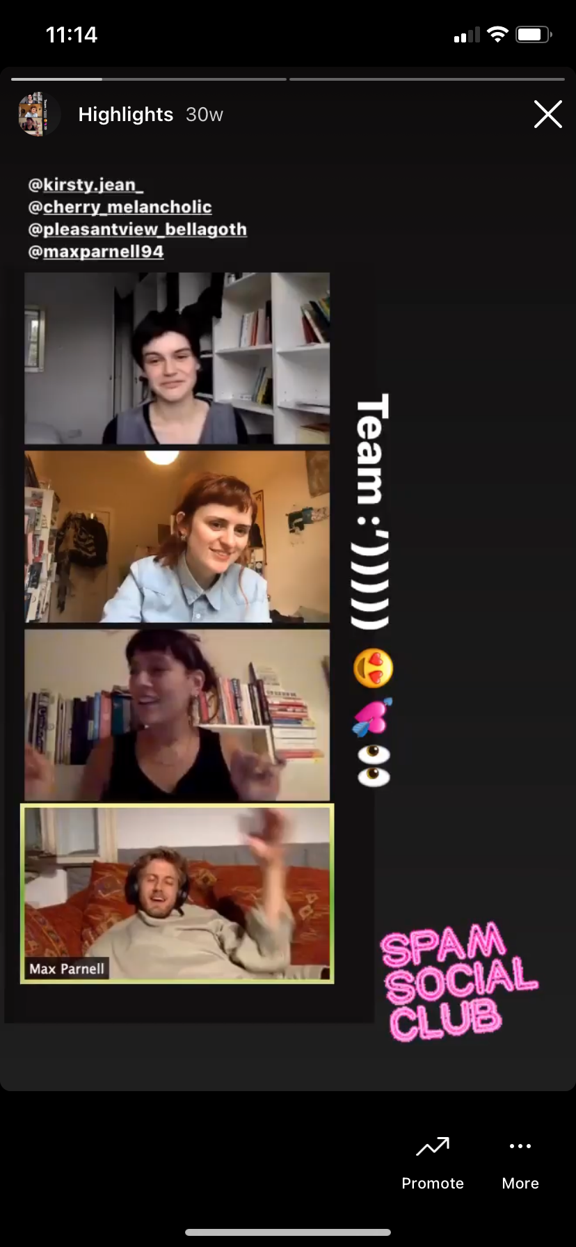 A Zoom screencap of Kirsty, Maria, Denise and Max with the caption 'Team :'))))' and several jubilant emojies.