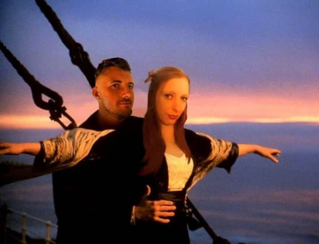 Verity is the front person in the iconic 'Jack I'm Flying' scene from Titanic, superimposed across an ocean at sunset