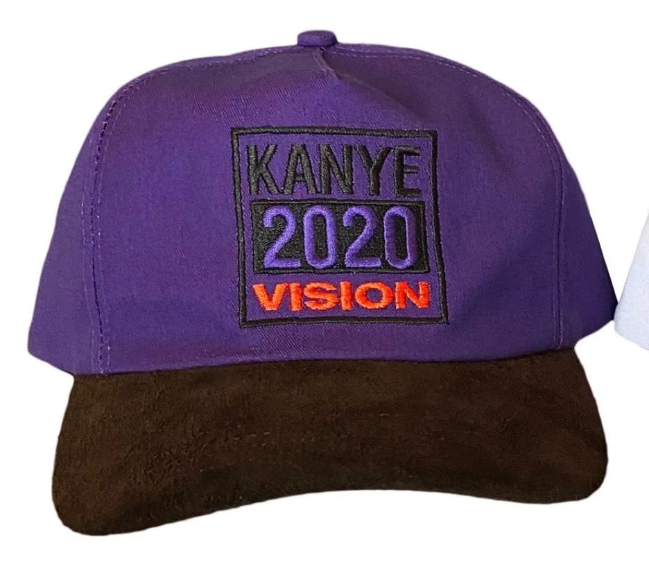 A purple baseball hat reads 'KANYE 2020 VISION'