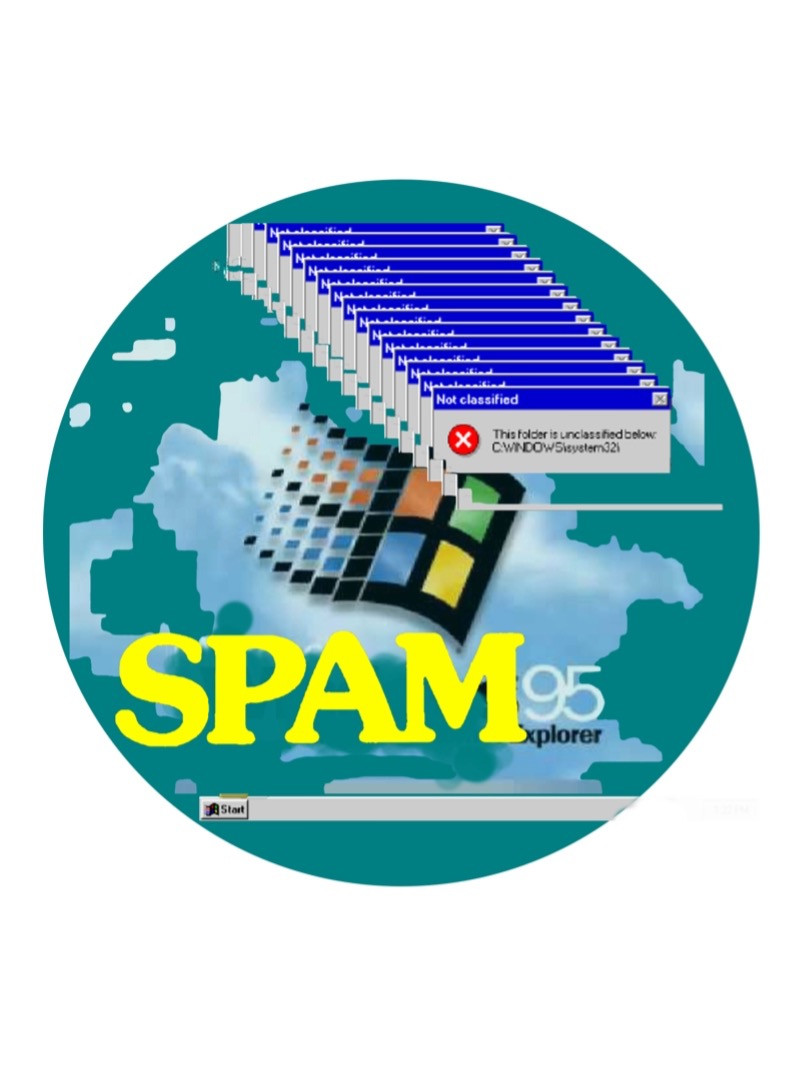 SPAM is imposed on a Windows 95 logo with error message cascade