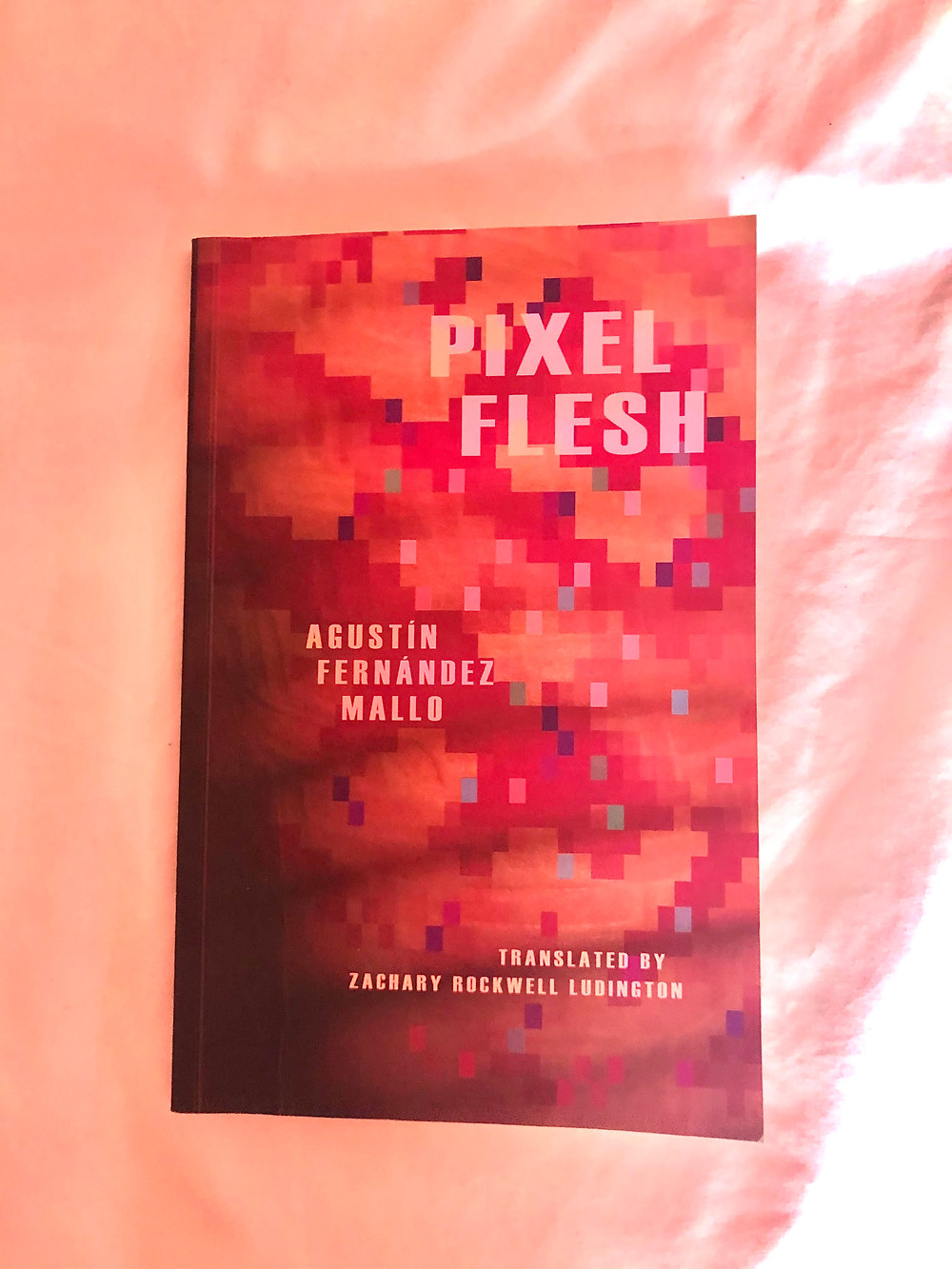 A copy of Pixel Flesh book lies upon pale salmon pink silky material. The cover is made up of orange and red pixels fading to dark in bottom left hand corner, and light comes in from the top right