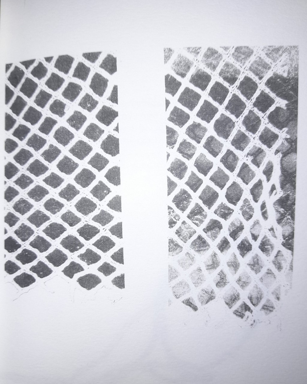 Another black and white monograph abstract diptych llustration from the work, with a cross hatched design giving the impressin of a chain link fence.