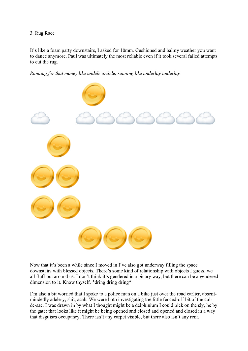 Third part of the essay, entitled 3. Rug Race with a gold coin animation hanging above a row of large white emoji clouds interspersed amongst the text, followed by a triangular tower of more gold animated coins below the clouds.