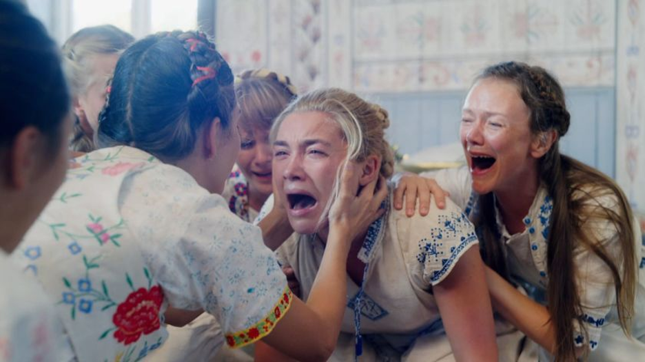 Collective wailing in Midsommar (2019, dir. Ari Aster)