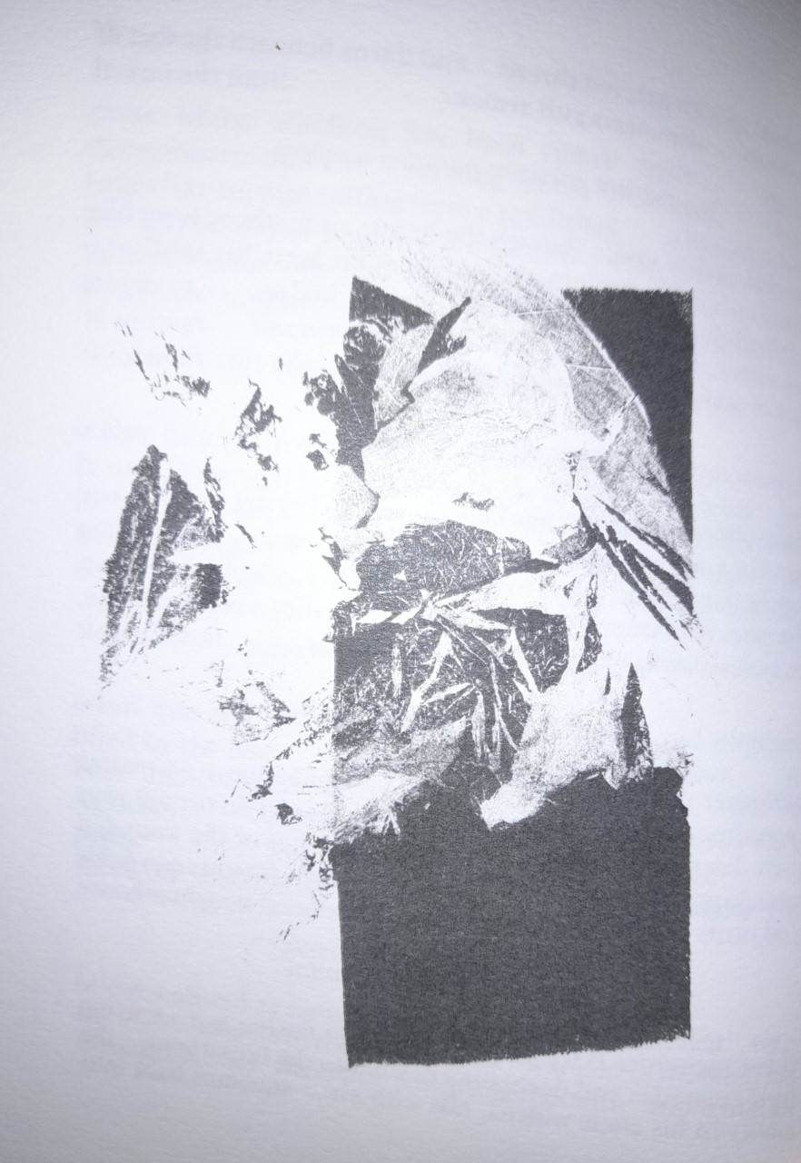 Monograph black and white illustration from the work: one image processed over the top of a strip of black ink; could resemble a photo of a mountain ridge.
