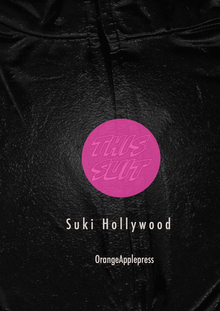 Black pamphlet cover with pink circle reading This Suit: Suki Hollywood