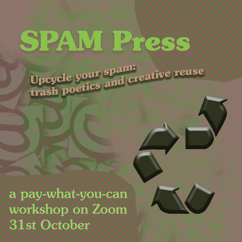 green poster with SPAM Press and recycling logo