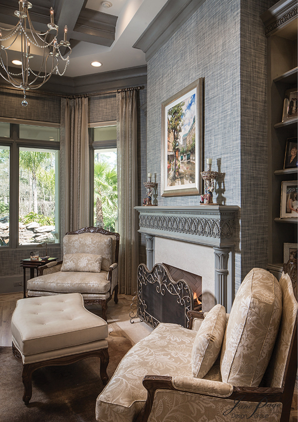 A Dramatic Home Study with Textured Wallpaper and Intricate Architectural Details