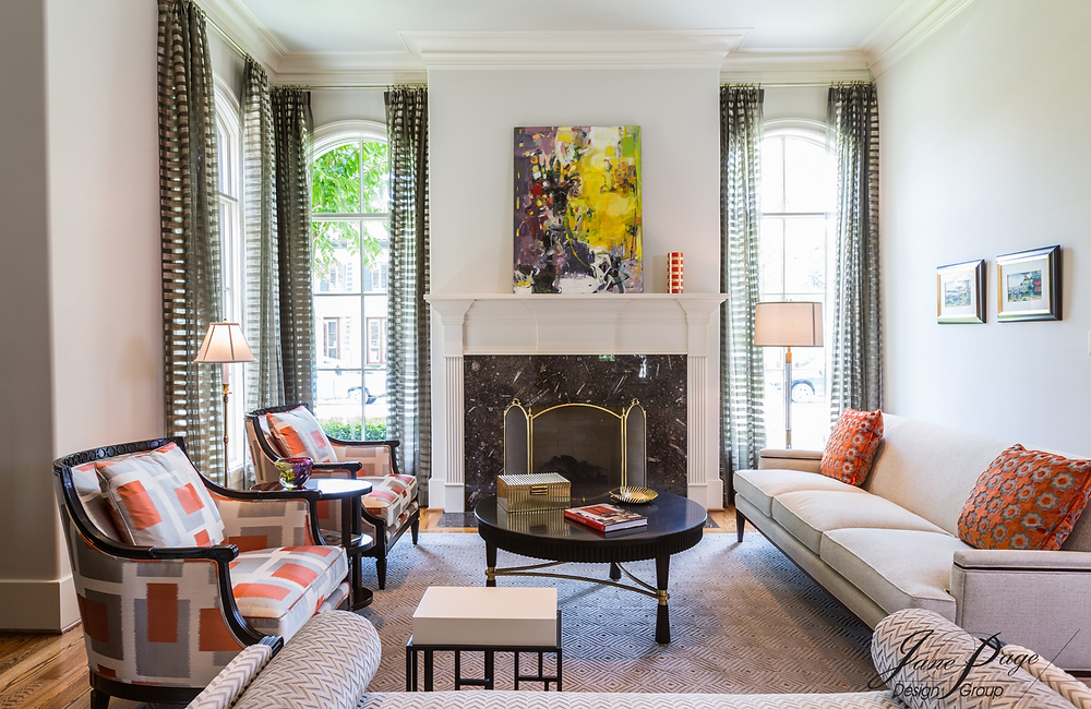 Stylish Formal Living Room with Persimmon