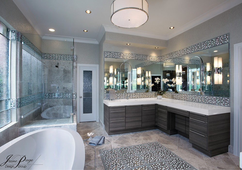 A Bathroom Remodel with Custom Glass Designs, Cabinets, and Tile Selections