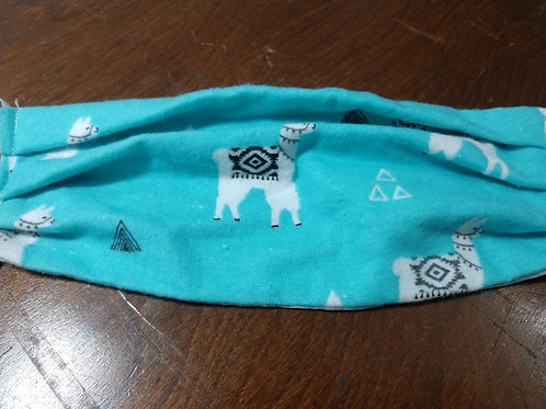 Blue and White Llama face mask