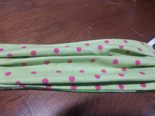 Lime green and pink polka dot face mask