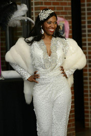 Custom designed going away outfit for one of our brides - what a grand exit she made!